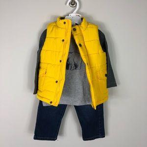 Little Me 3 Piece Set Vest Jeans Tee Polar Bear 2T